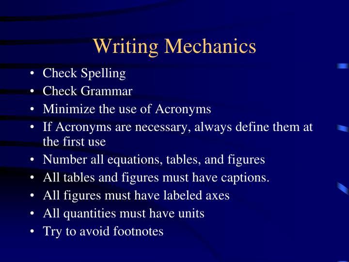 Writing Mechanics