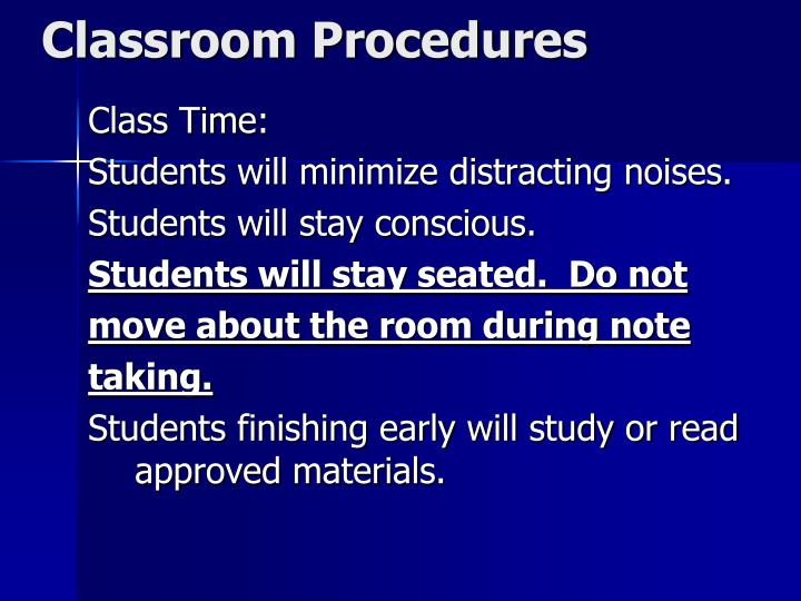 Classroom procedures1