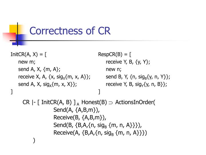 Correctness of CR
