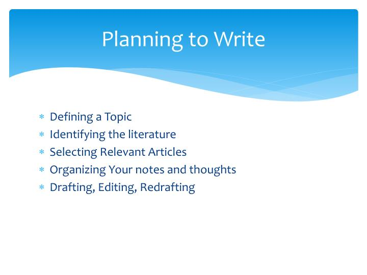 Planning to Write