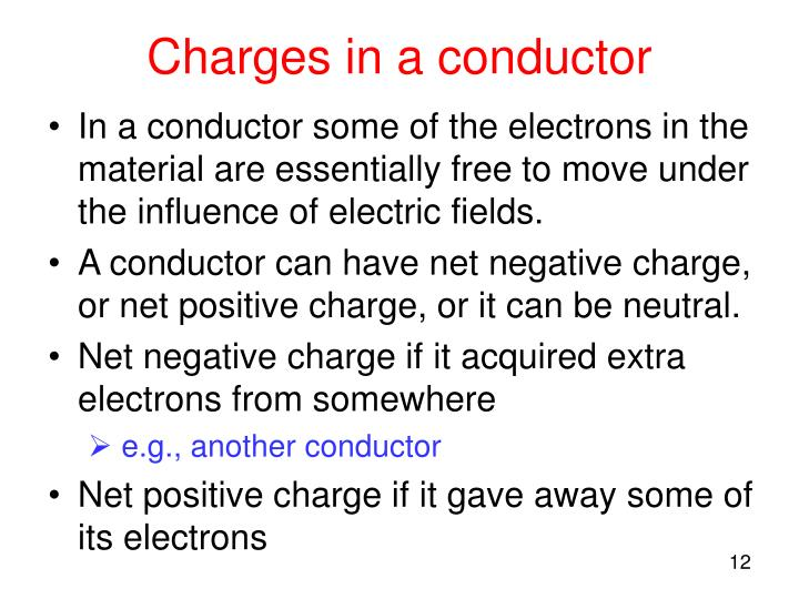 Charges in a conductor