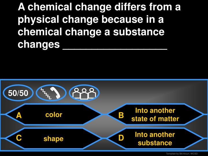 A chemical change differs from a physical change because in a chemical change a substance changes __________________