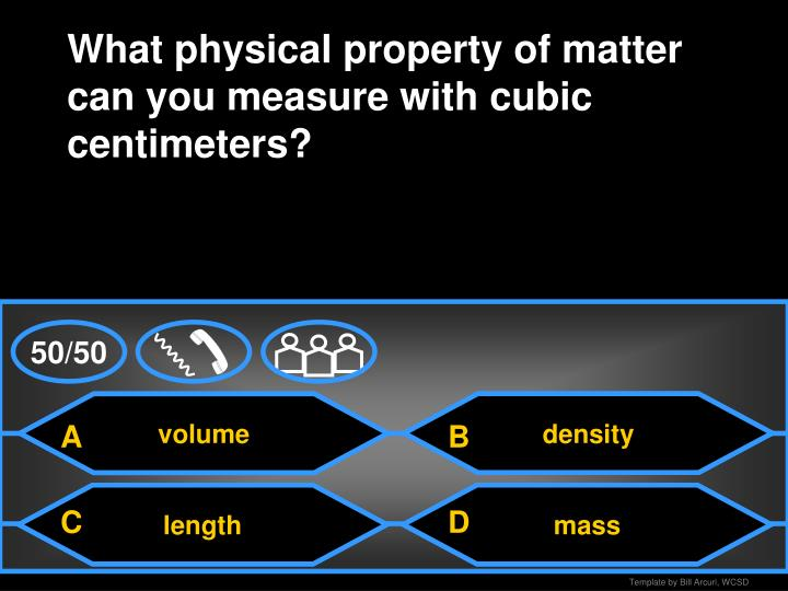 What physical property of matter can you measure with cubic centimeters?