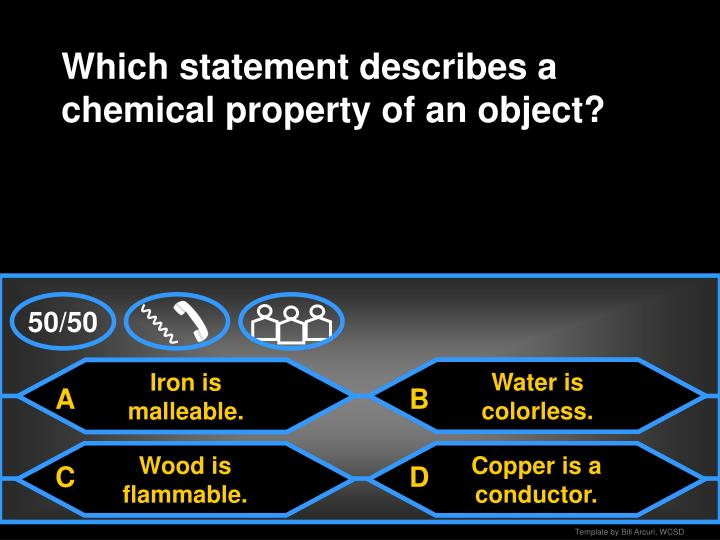 Which statement describes a chemical property of an object?
