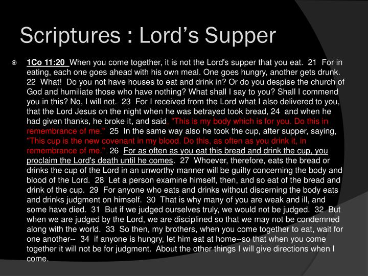 Scriptures : Lord's Supper
