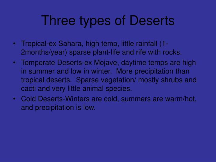 Three types of Deserts