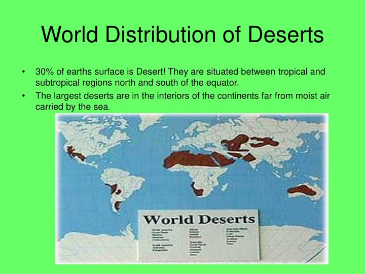 World distribution of deserts