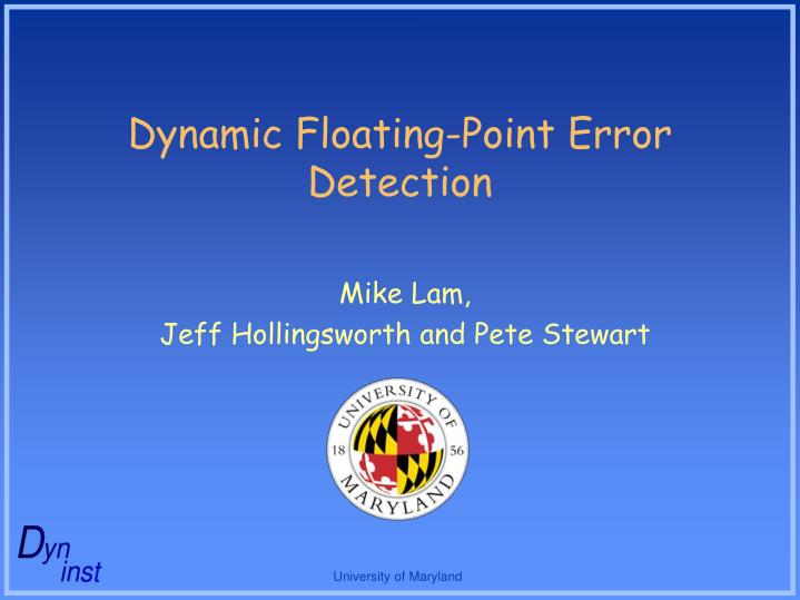 Dynamic floating point error detection