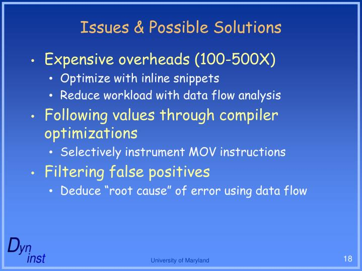 Issues & Possible Solutions