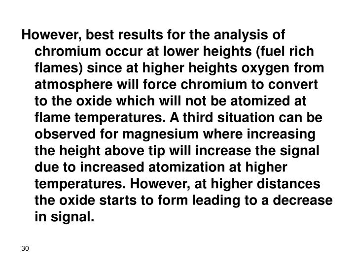 However, best results for the analysis of chromium occur at lower heights (fuel rich flames) since at higher heights oxygen from atmosphere will force chromium to convert to the oxide which will not be atomized at flame temperatures. A third situation can be observed for magnesium where increasing the height above tip will increase the signal due to increased atomization at higher temperatures. However, at higher distances the oxide starts to form leading to a decrease in signal.
