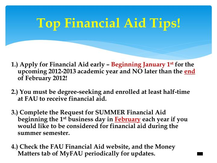Top Financial Aid Tips!
