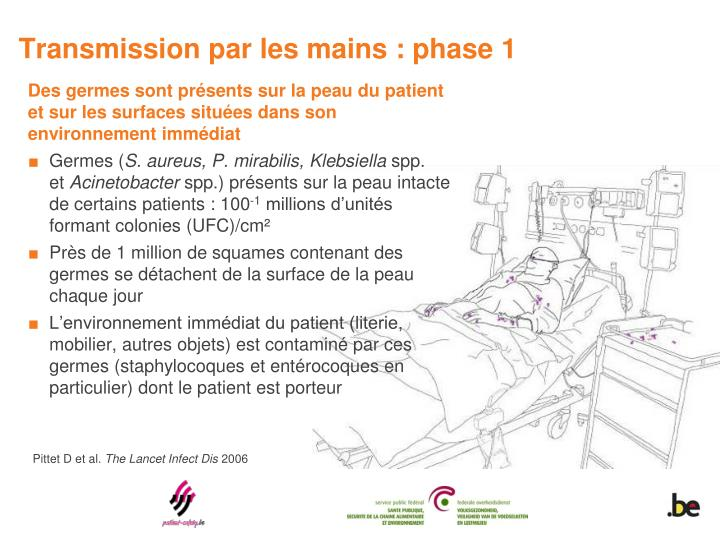 Transmission par les mains : phase 1