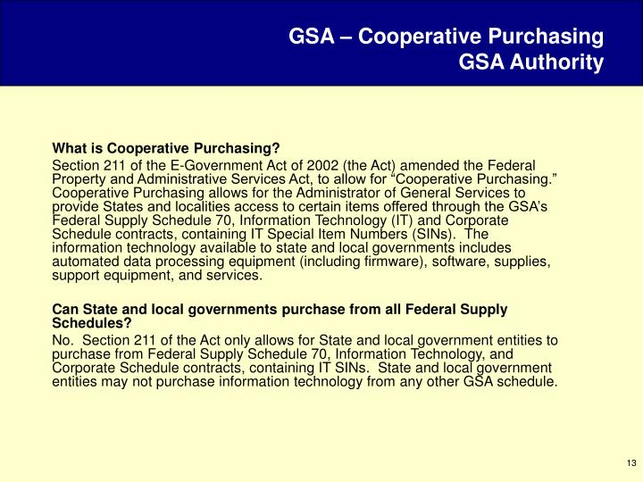 GSA – Cooperative Purchasing