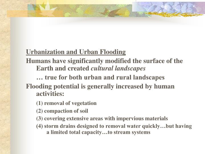 Urbanization and Urban Flooding