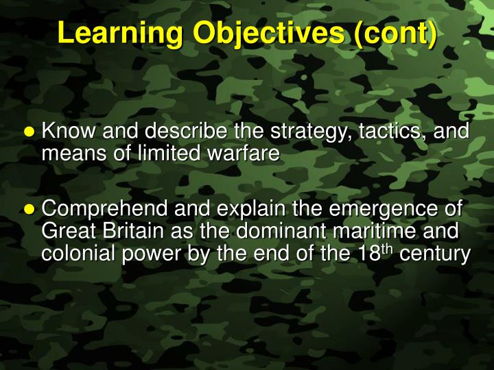 Learning Objectives (cont)