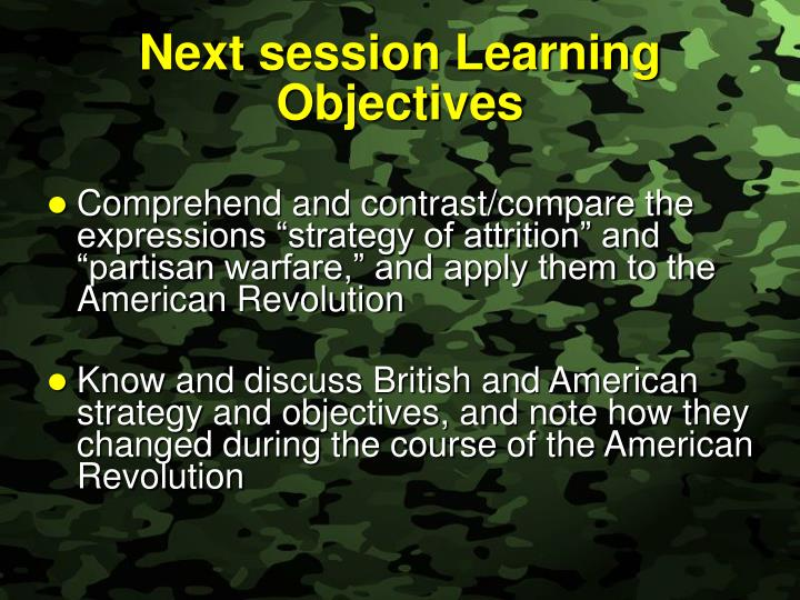 Next session Learning Objectives