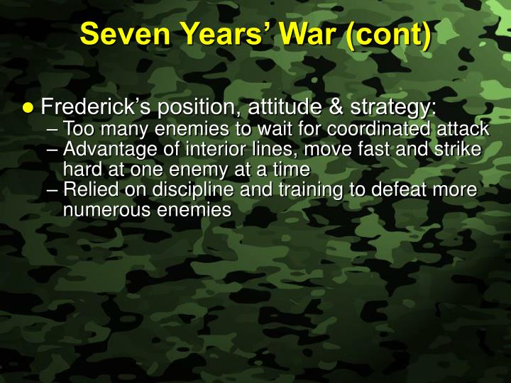 Seven Years' War (cont)