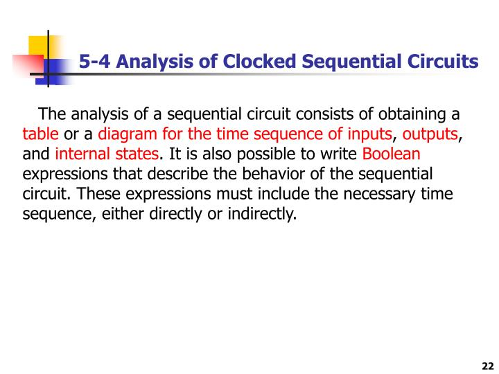 5-4 Analysis of Clocked Sequential Circuits