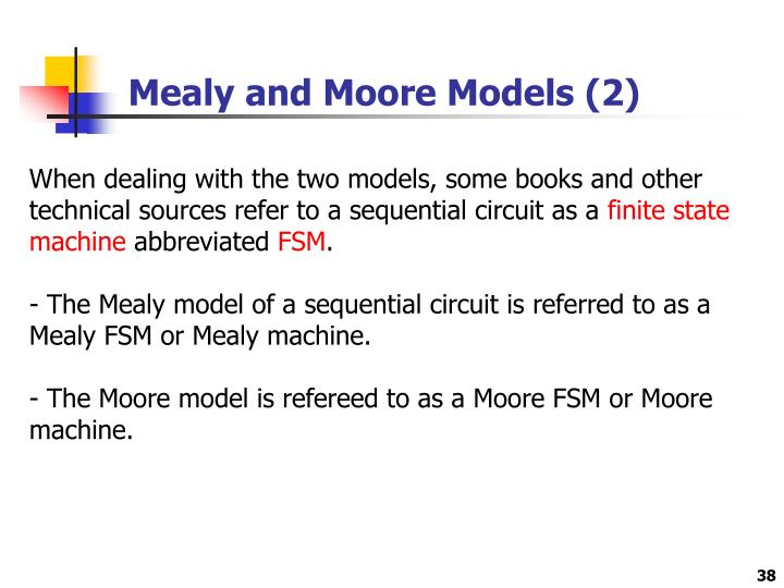 Mealy and Moore Models (2)