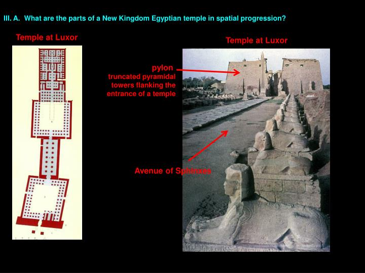 III. A.  What are the parts of a New Kingdom Egyptian temple in spatial progression?