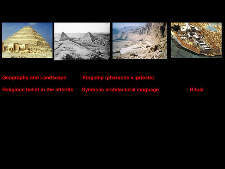 Geography and Landscape	         Kingship (pharaohs v. priests)