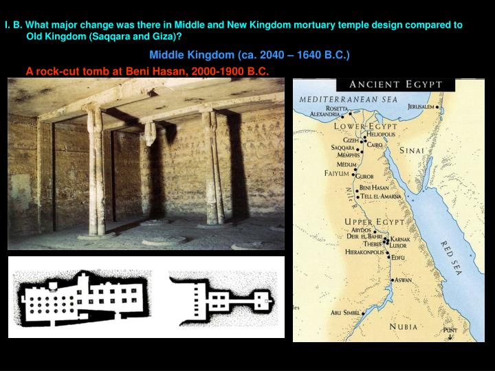 I. B. What major change was there in Middle and New Kingdom mortuary temple design compared to
