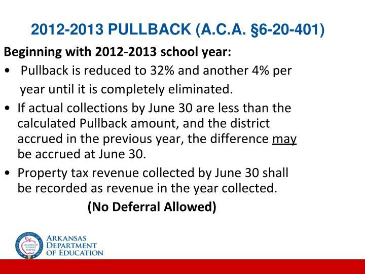 2012-2013 PULLBACK (A.C.A. §6-20-401)