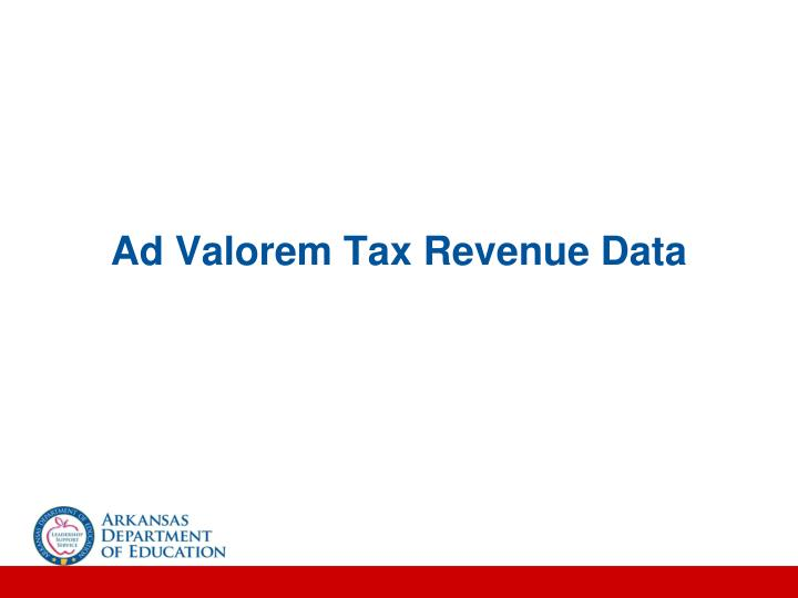 Ad Valorem Tax Revenue Data