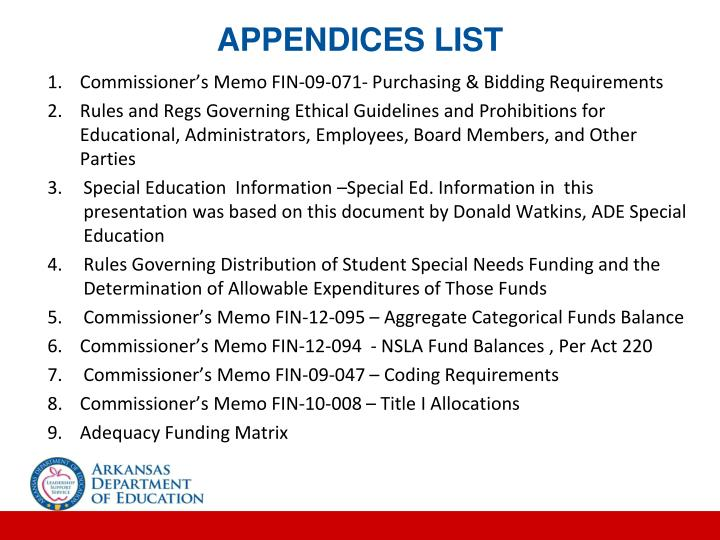 APPENDICES LIST