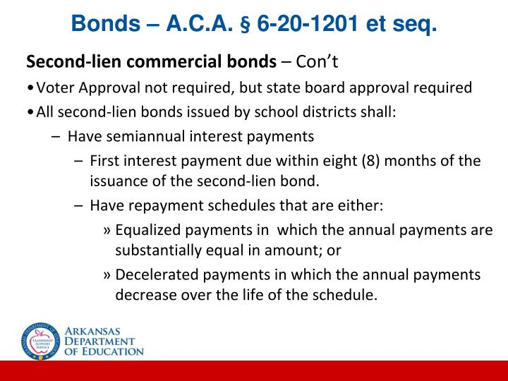 Bonds – A.C.A. § 6-20-1201 et seq.
