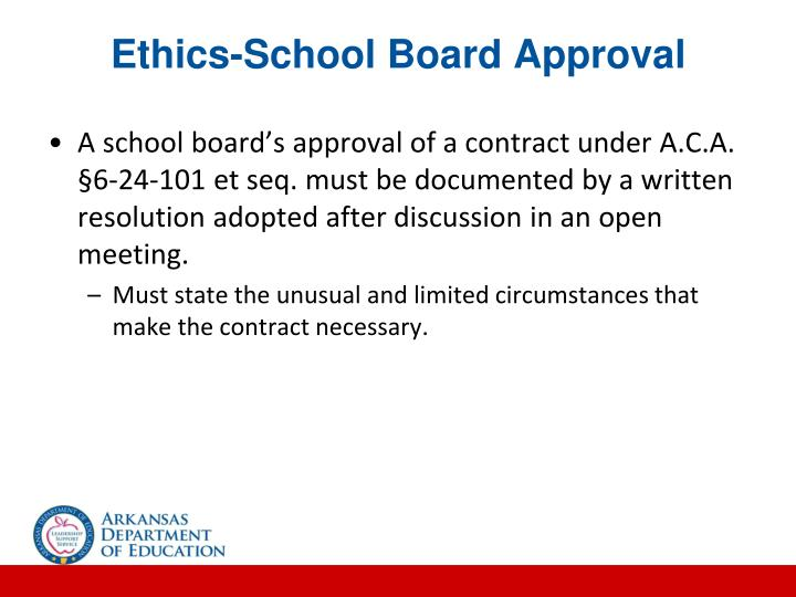 Ethics-School Board Approval