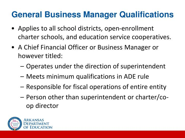 General Business Manager Qualifications