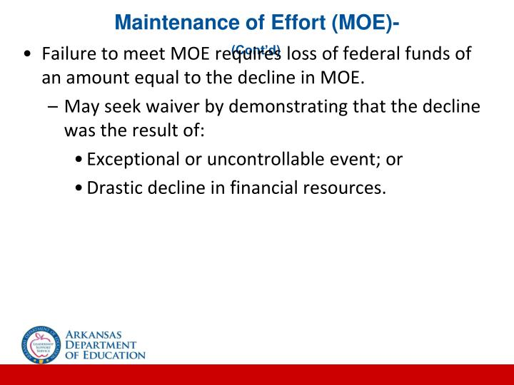 Maintenance of Effort (MOE)-