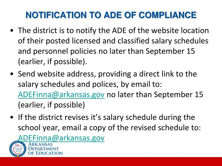 NOTIFICATION TO ADE OF COMPLIANCE
