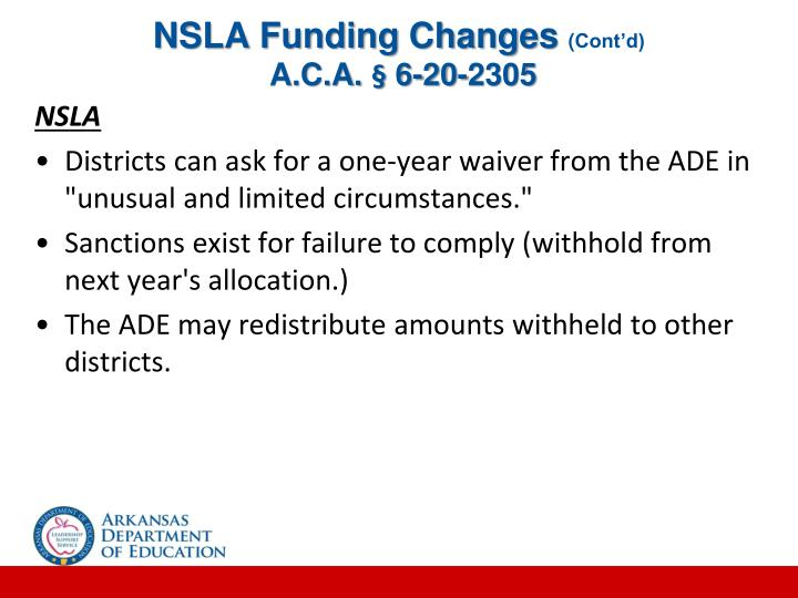 NSLA Funding Changes