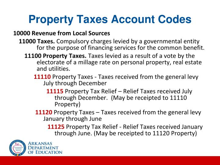 Property Taxes Account Codes