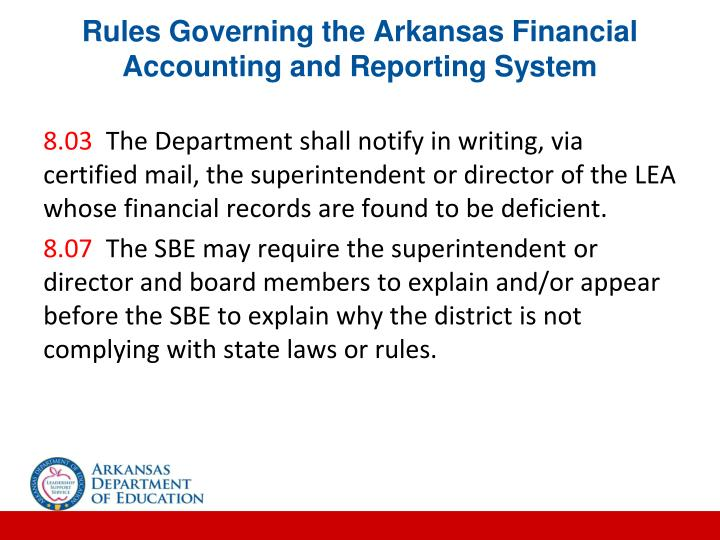 Rules Governing the Arkansas Financial Accounting and Reporting System