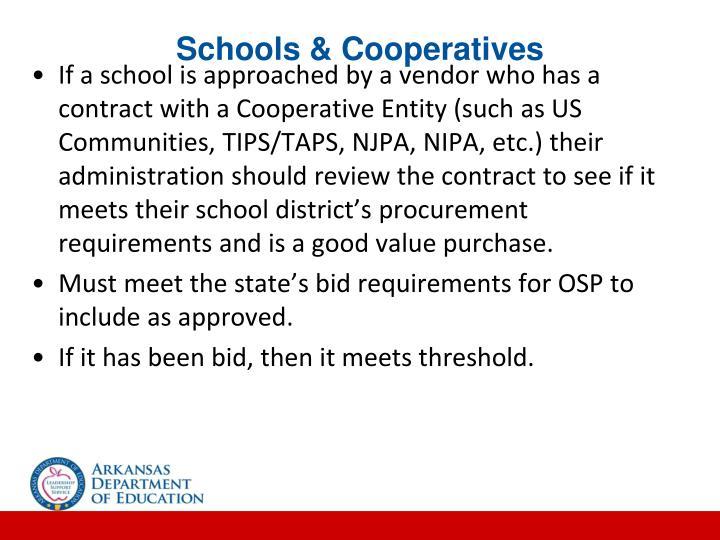 Schools & Cooperatives