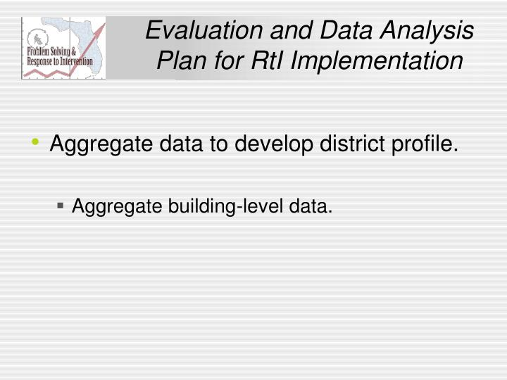Evaluation and Data Analysis Plan for RtI Implementation