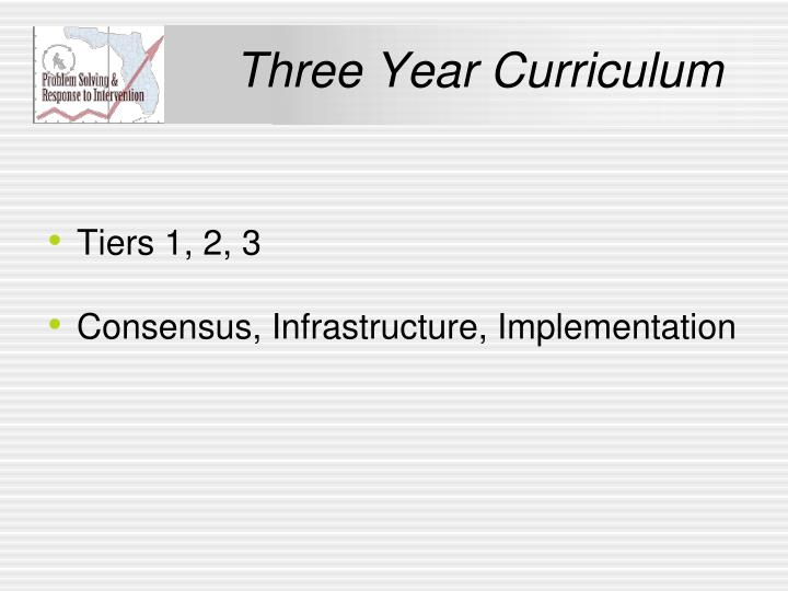 Three Year Curriculum