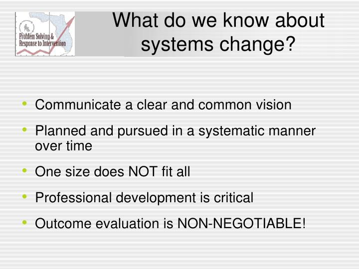 What do we know about systems change?