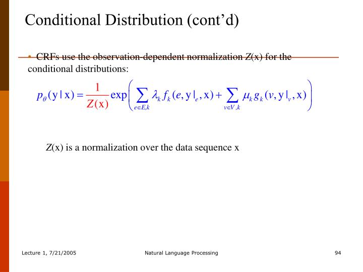 Conditional Distribution (cont'd)