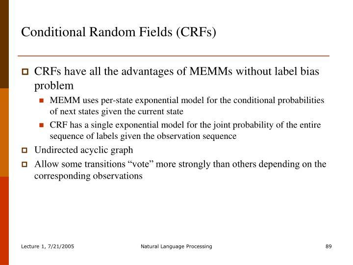 Conditional Random Fields (CRFs)