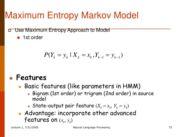 Maximum Entropy Markov Model