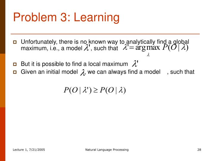 Problem 3: Learning