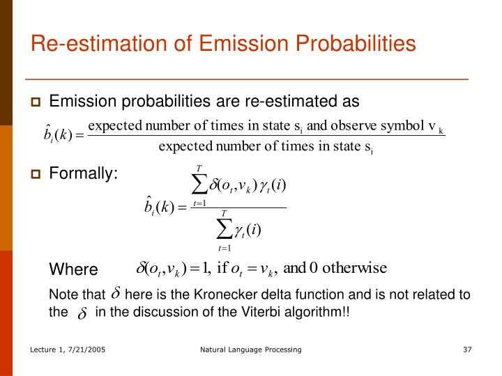 Re-estimation of Emission Probabilities