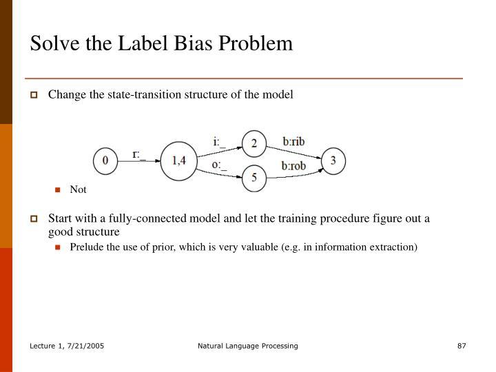 Solve the Label Bias Problem