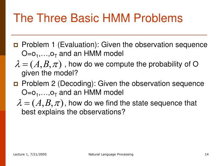The Three Basic HMM Problems