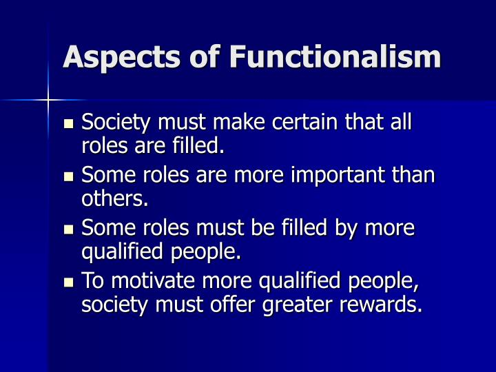 Aspects of functionalism