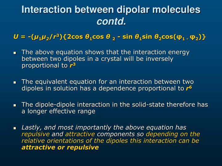 Interaction between dipolar molecules
